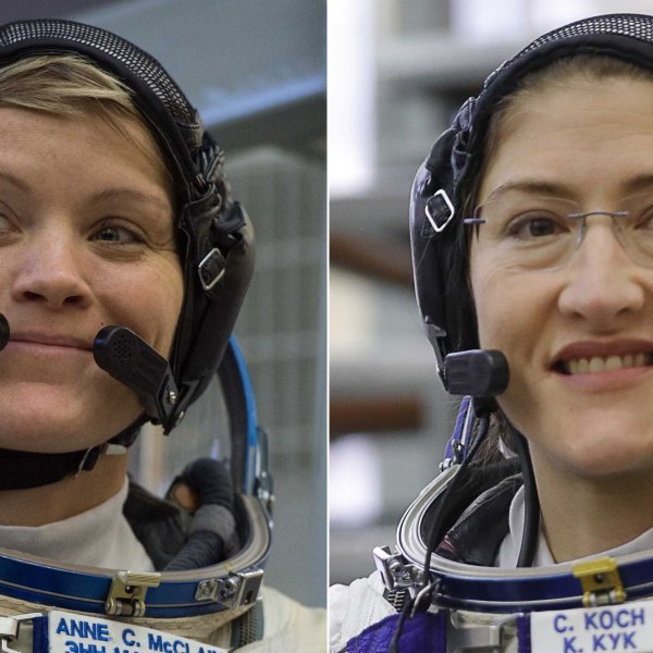 NASA astronauts Anne McClain and Christina Koch were set to make history as the first all-female crew to conduct a spacewalk at the International Space Station, but it was announced on March 25, 2019, that the historic spacewalk will be delayed because of spacesuit issues. (Credit: Getty Images via CNN)