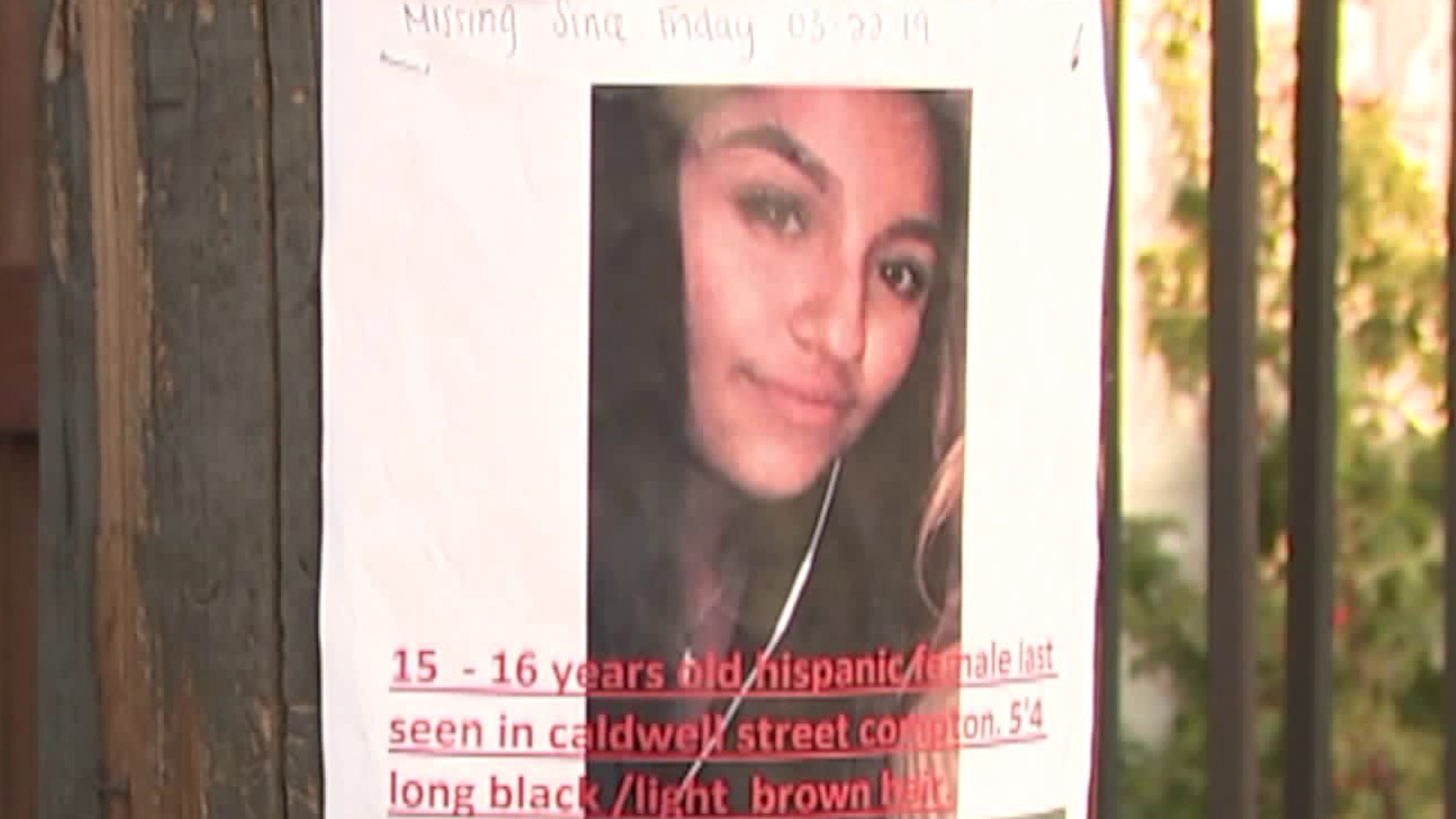 Samantha Busto is seen in a missing person's poster in March 2019. (Credit: KTLA)