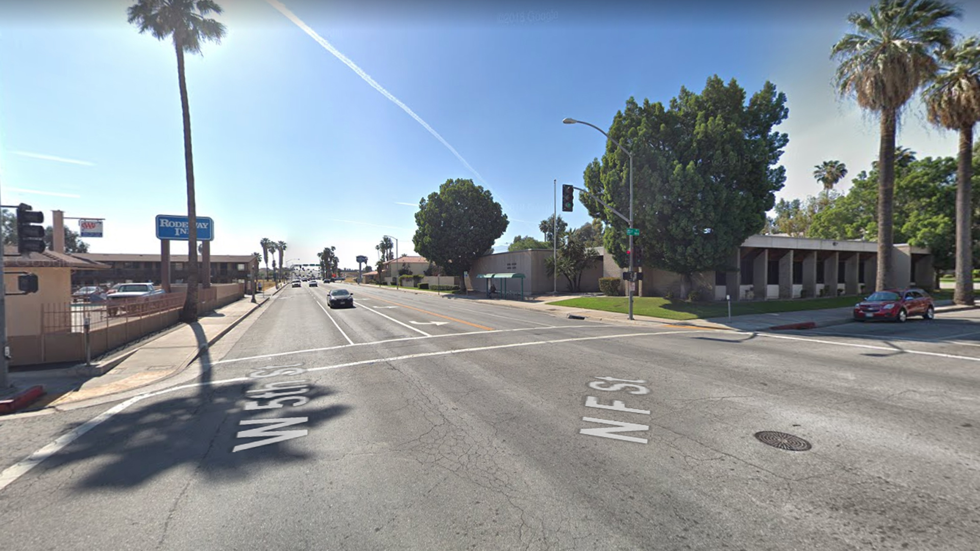The intersection of 5th Street and F Street in San Bernardino, as seen in a Google Street View image in April of 2018.