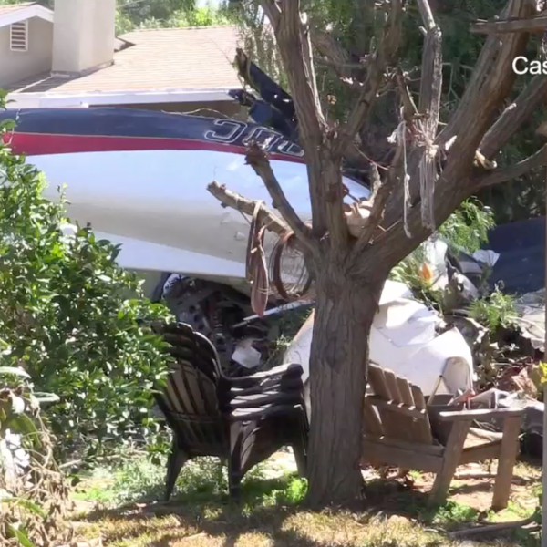 A small plane in a home's yard after crashing into a residential neighborhood in Riverside on March 16, 2019. (Credit: CasperNews)