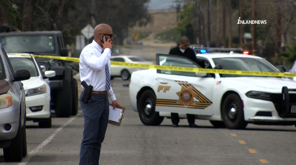 Authorities respond to investigate after deputies shot a suspect in Fontana on March 20, 2019. (Credit: Inland News)