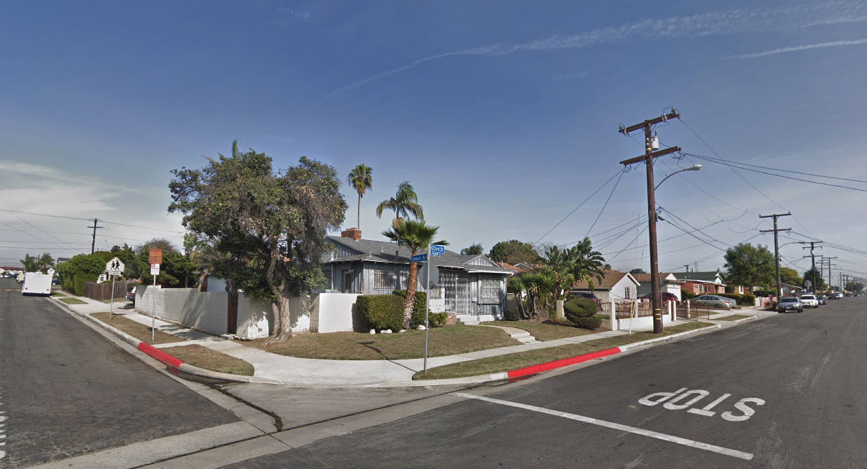The corner of 123rd Street and Denker Avenue is seen in a Google Maps Street View image from January 2018.