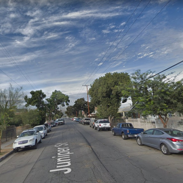 An area of South L.A. where a man was shot dead on March 23, 2019, is seen in this undated image from Google Maps.