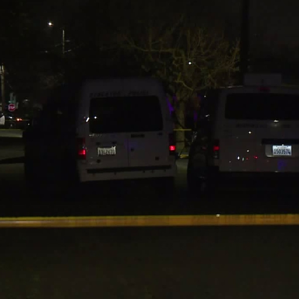 Stockton police investigate a triple fatal shooting on March 22, 2019. (Credit: KTXL)