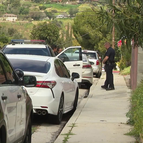 Los Angeles police investigate on March 21, 2019, after a woman was stabbed during a carjacking in the Sunland neighborhood the previous evening. (Credit: KTLA)