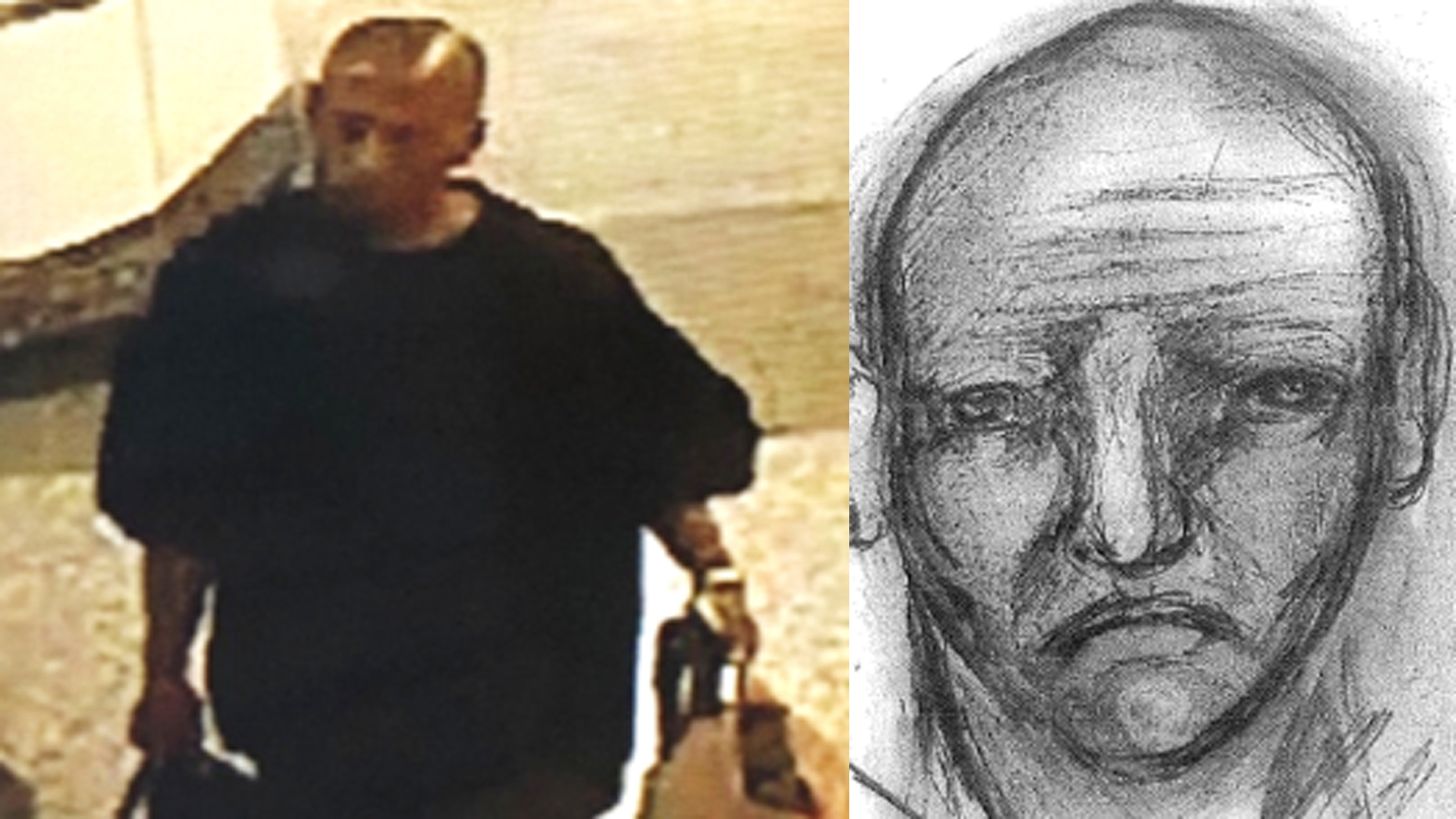 LAPD released this surveillance image and suspect sketch of a man being sought in connection with a rape and assault at a Metro Station in East Hollywood on March 14, 2019.