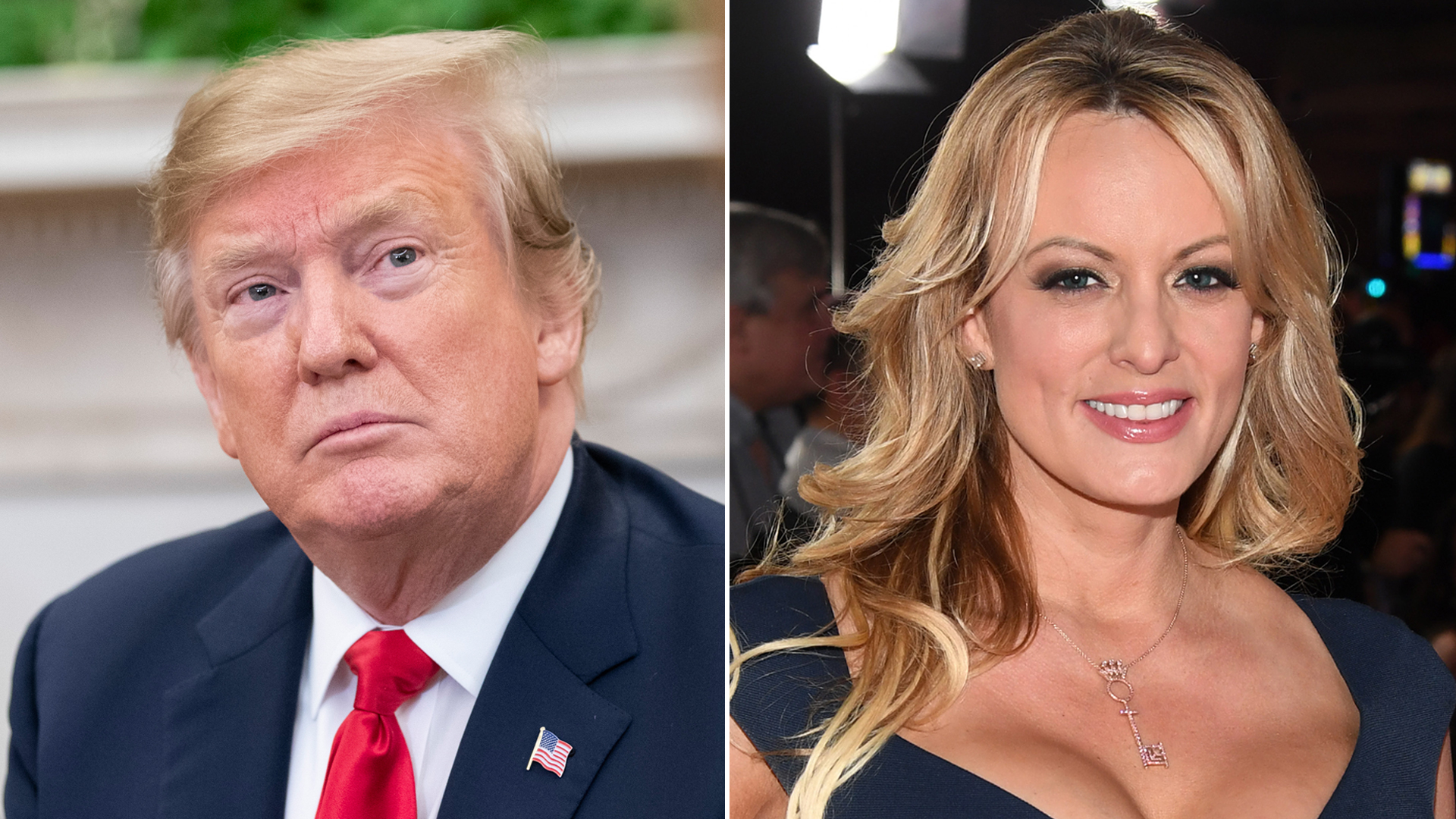 From left: President Donald Trump is seen during a meeting in the Oval Office on March 7, 2019, and director and actress Stormy Daniels attends the Adult Video News Awards in Las Vegas on Jan. 26, 2019. (Alex Edelman / Ethan Miller / Getty Images)