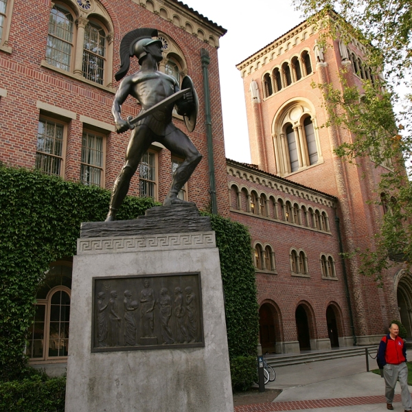 The Tommy Trojan statue on USC campus is seen in this file photo from March 6, 2007. (Credit: David McNew/Getty Images)