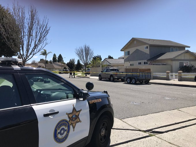 The scene where a man was found dead inside a car trunk in Stanton is seen here on March 8, 2019. (Credit: Orange County Sheriff's Department via Twitter)