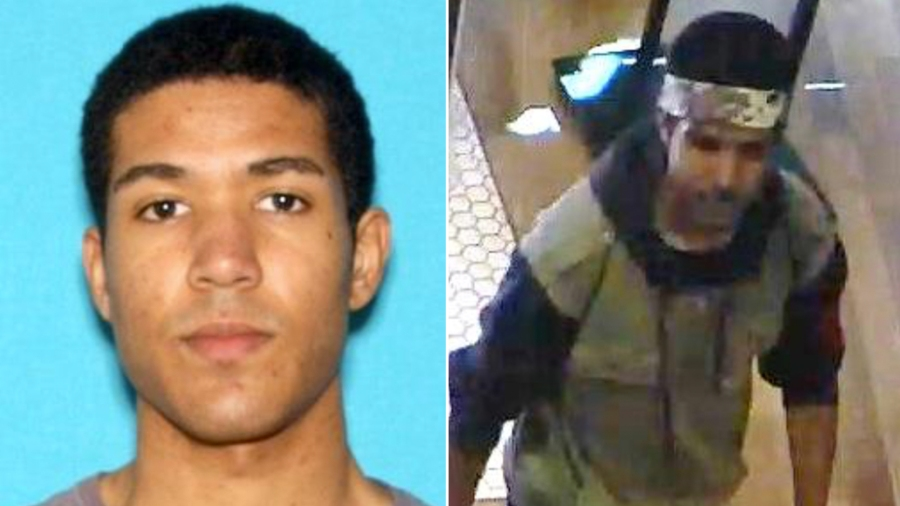 From left: Nicholas K. Oates, 25, is seen in a driver's license photo released by Los Angeles police, and a still from store surveillance shows the suspect who caused a gun scare at the Westfield Century City mall.