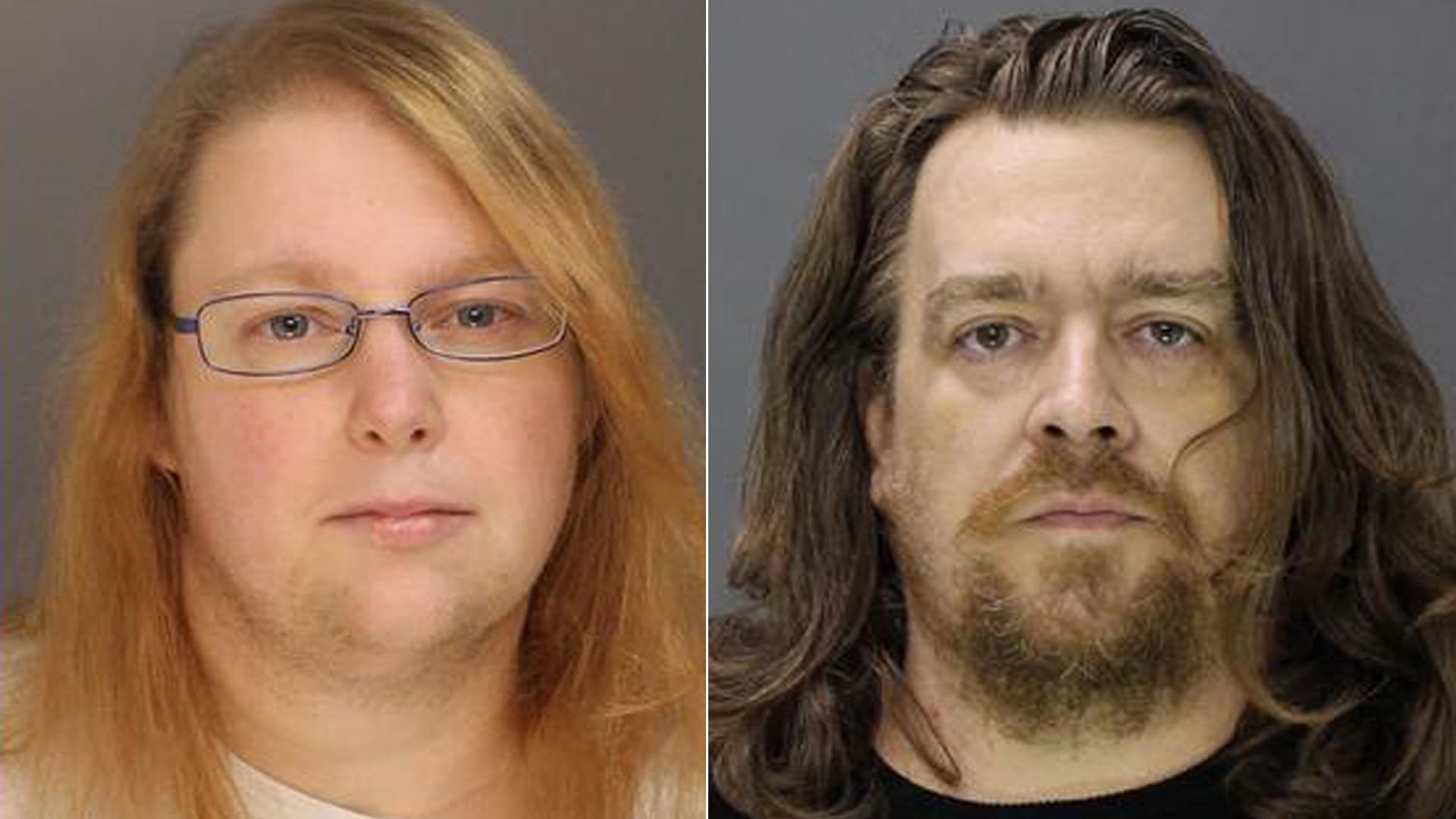 Sara Packer, left, and Jacob Sullivan, right, appear in undated booking photos. (Credit: Bucks County District Attorney/ Twitter)
