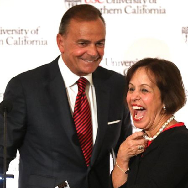 Carol L. Folt is introduced by Board Chairman Rick Caruso as USC's new president at a press conference held at Town and Gown at the University Park Campus on March 20, 2019. (Credit: Gary Coronado / Los Angeles Times)