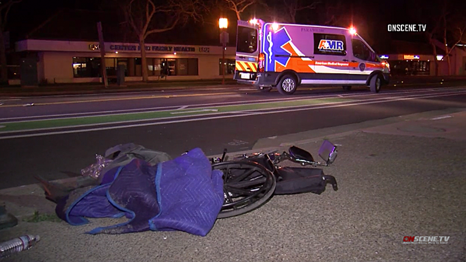 A hit-and-run victim's wheelchair is seen after it was struck by a car in Ventura on March 14, 2019. (Credit: OnScene.TV)