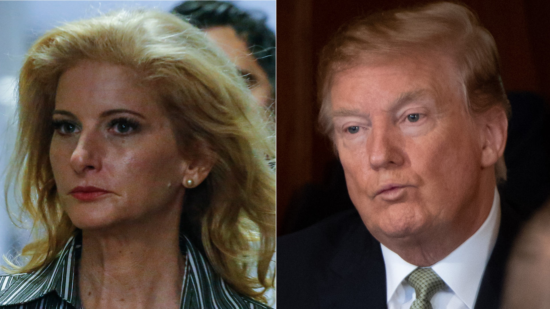 "From left to right: Summer Zervos, Orange County woman and former ""Apprentice"" contestant, arrives to New York County Criminal Court on Dec. 5, 2017, in New York. (Credit: KENA BETANCUR/AFP/Getty Images) Donald Trump attends the Friends of Ireland Luncheon at the U.S. Capitol in Washington, D.C., March 14, 2019. (Credit: SAUL LOEB / AFP/ Getty Images)"