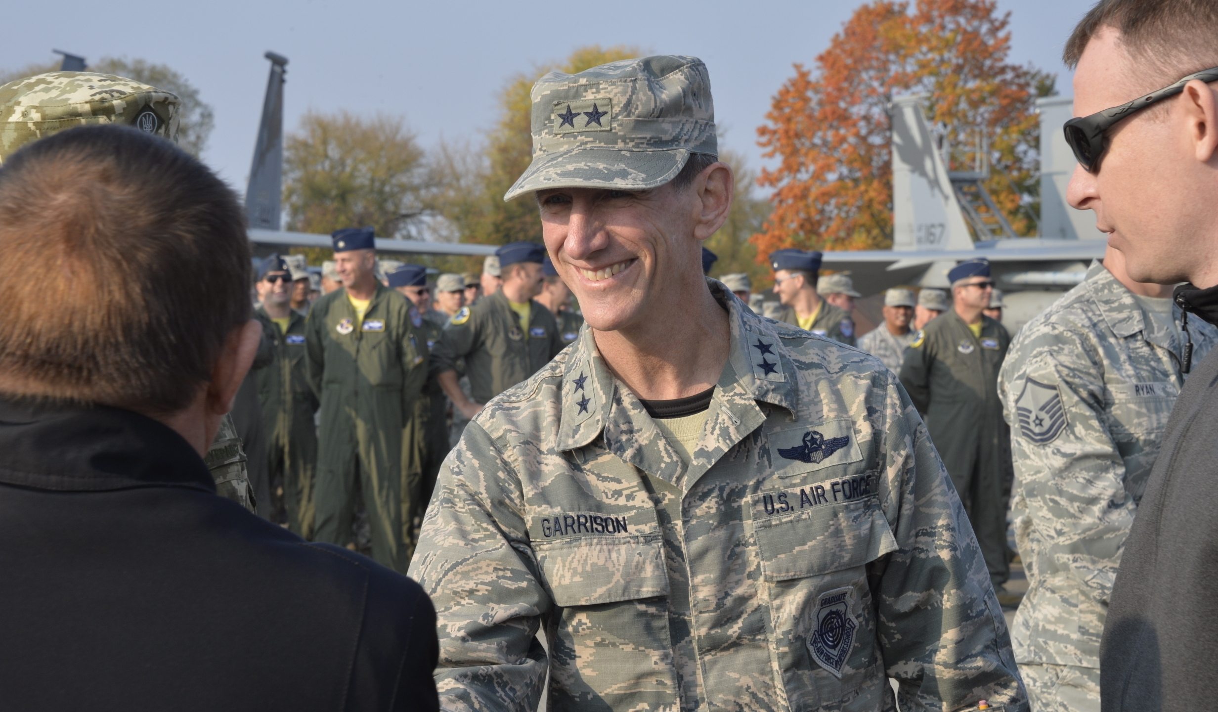 Maj. Gen. Clay L. Garrison, California Air National Guard commander, is seen during a ceremony at Starokostiantyniv Air Base, Ukraine, Oct. 8, 2018. (Credit: U.S. Air National Guard / Tech. Sgt. Charles Vaughn)