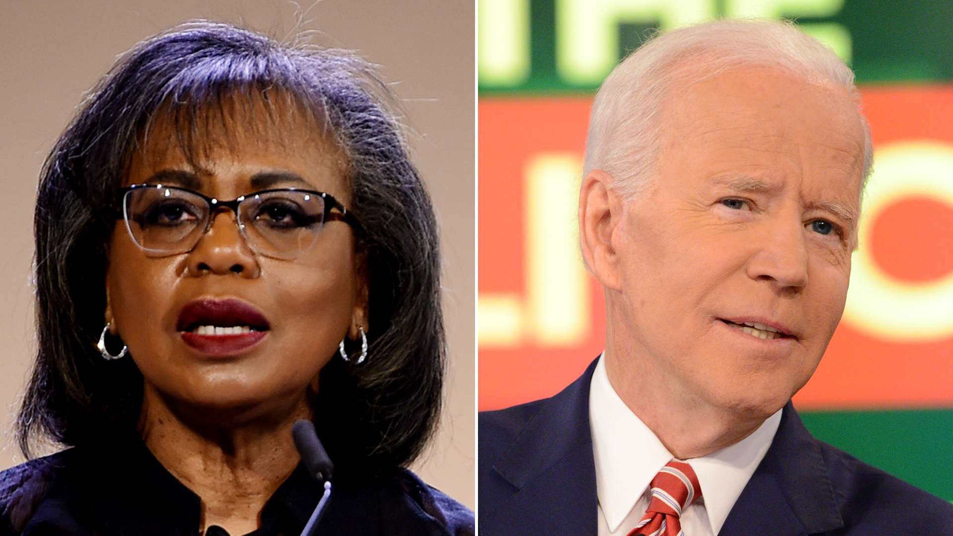 """Anita Hill, left, speaks at the DVF Awards at Brooklyn Museum on April 11, 2019. Joe Biden, right, appears on ABC's """"The View"""" on April 26, 2019. (Credit: Getty Images)"""