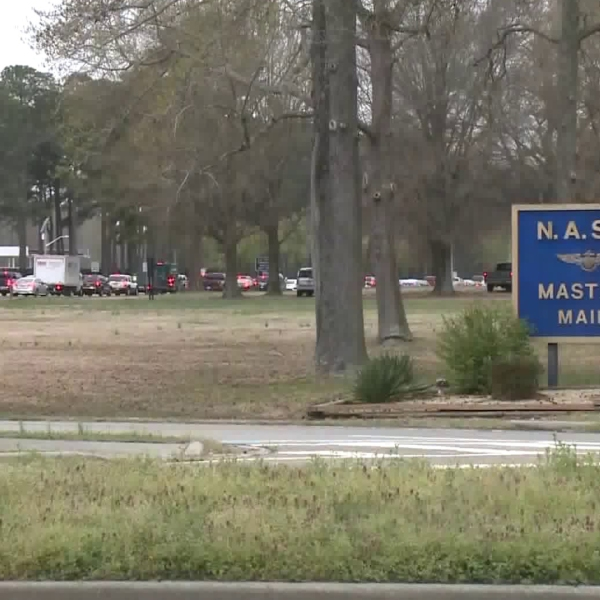 A male sailor died and a female sailor was wounded in a shooting at Naval Air Station Oceana in Virginia Beach, Virginia, on April 5, 2019. (Credit: WTKR)