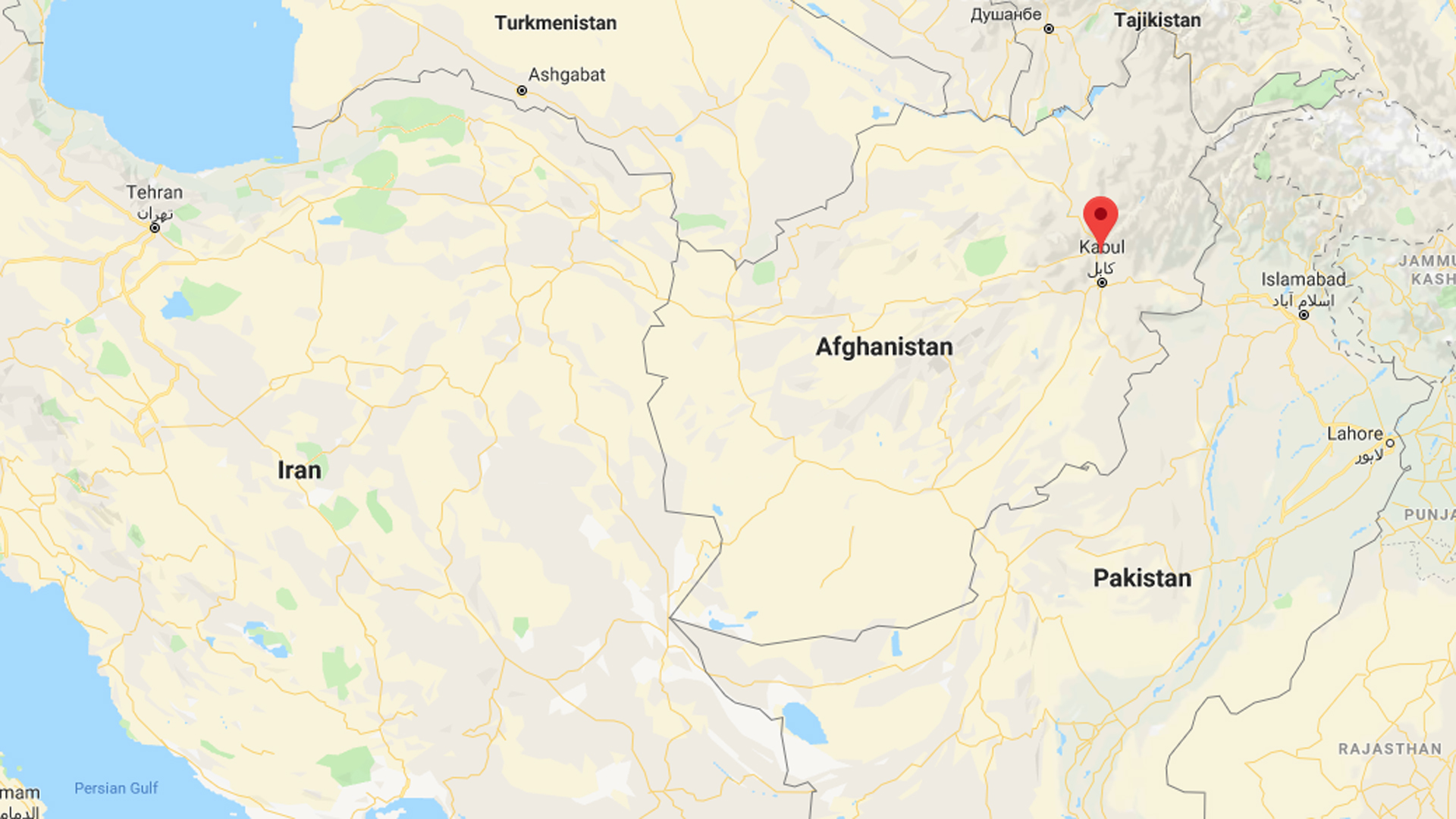 The approximate location of an April 8, 2019, roadside bombing near Bagram Air Base, north of Kabul, Afghanistan, is seen in this image from Google Maps.