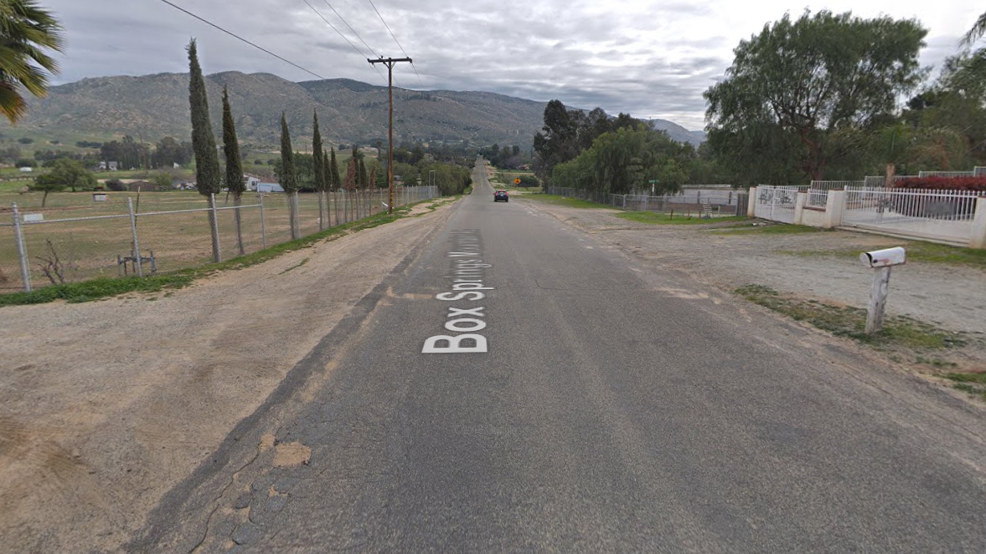The 9000 block of Box Springs Mountain Road is seen in this image from Google Maps.