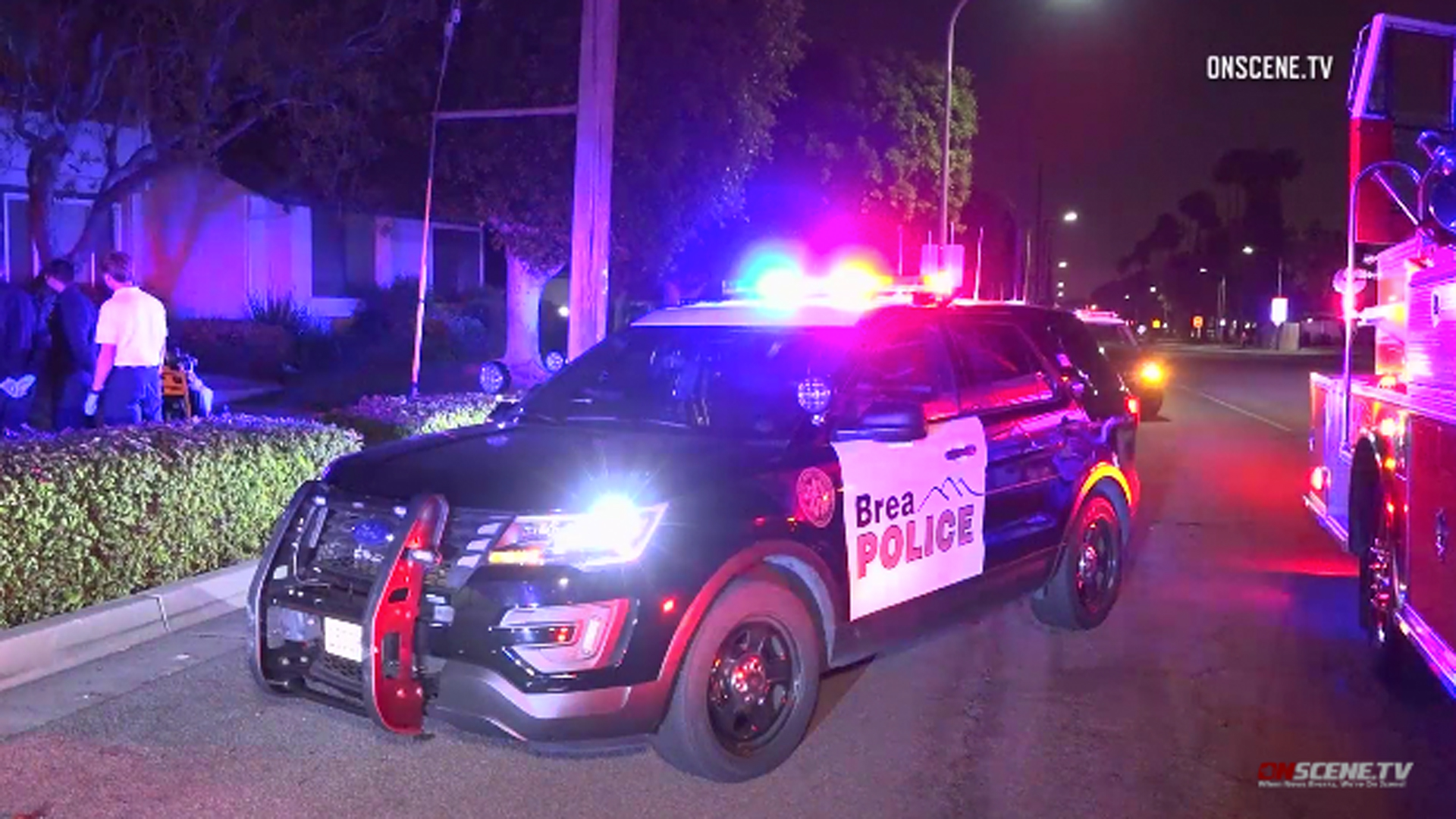 Police investigate a domestic disturbance in Brea on April 22, 2019. (Credit: OnScene.TV)