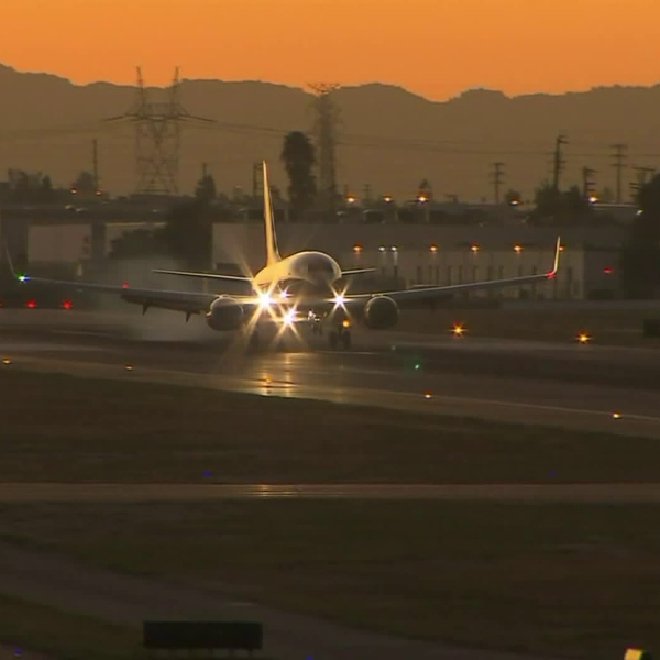 An undated image shows a jet at Burbank airport. (Credit: KTLA)
