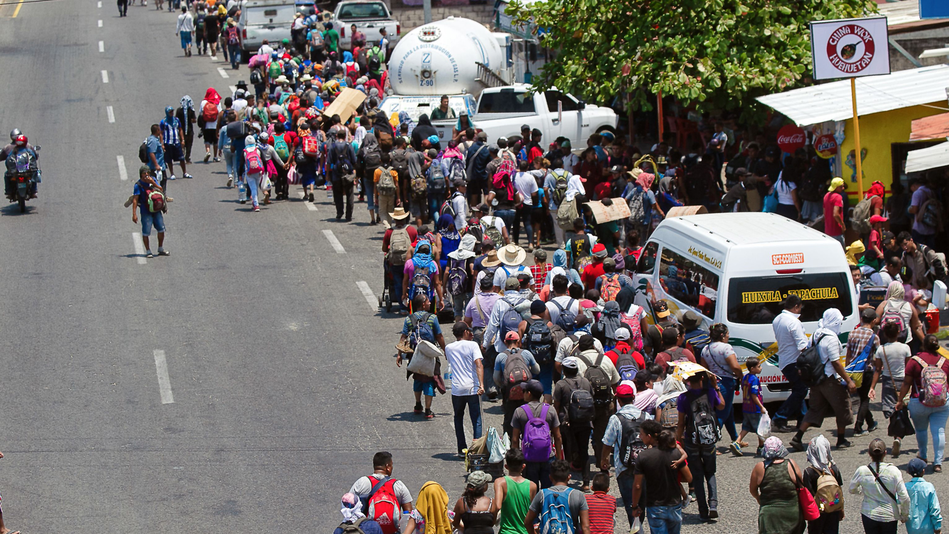 Central American migrants heading in a caravan to the U.S. arrive in Huehuetan, Chiapas state, Mexico, on April 15, 2019. (Credit: PEP COMPANYS/AFP/Getty Images)