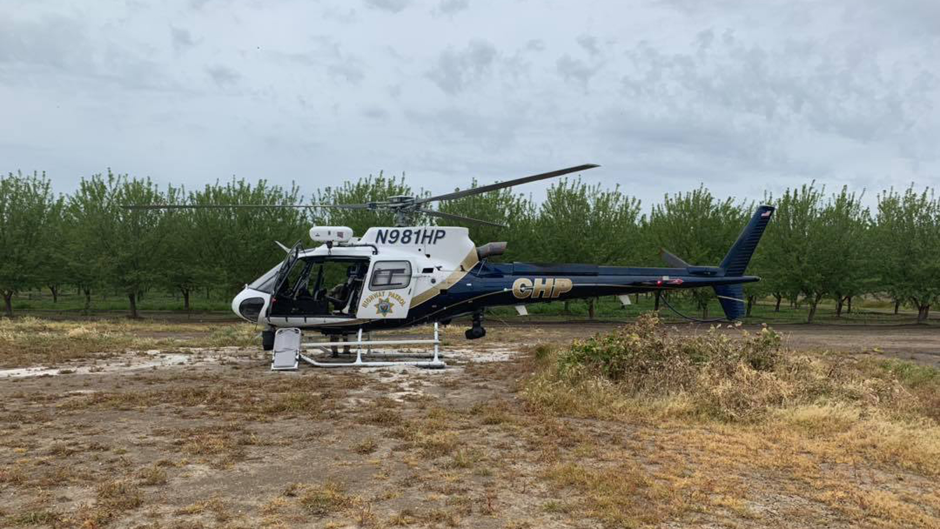 The California Highway Patrol released this photo on April 1, 2019 of a helicopter that responded to the Weyland Canal in Dixon following reports of two unresponsive teens.