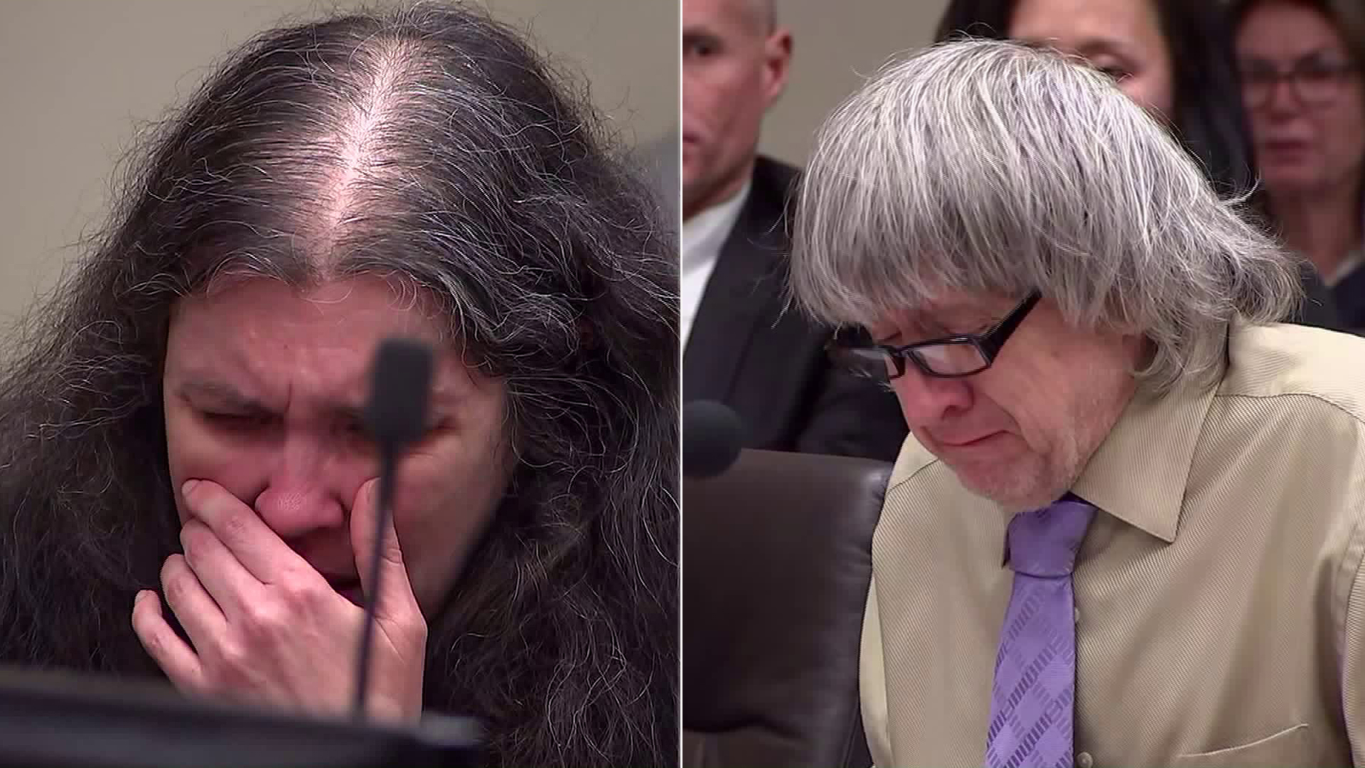 Louise Turpin and David Turpin are seen crying in court during their sentencing hearing on April 19, 2019. (Credit: Pool)