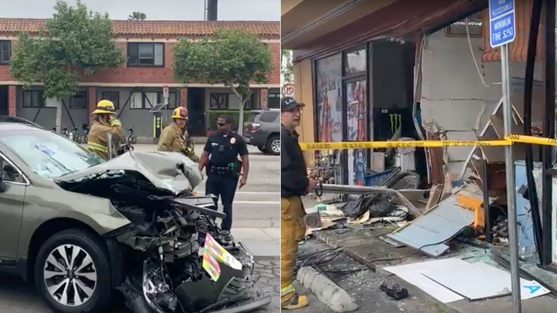 These side-by-side images show the wreckage left behind after an SUV slammed into a store in Venice on April 28, 2019. (Credit: Casey MacLean)