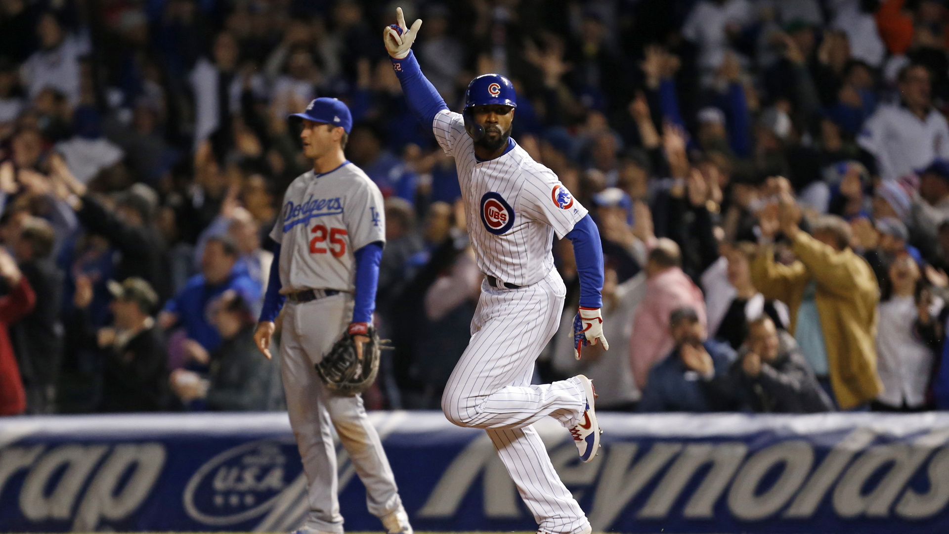 Jason Heyward #22 of the Chicago Cubs rounds the bases following his three run home run against the Los Angeles Dodgers during the sixth inning of a game at Wrigley Field on April 24, 2019 in Chicago, Illinois. (Credit: Nuccio DiNuzzo/Getty Images)