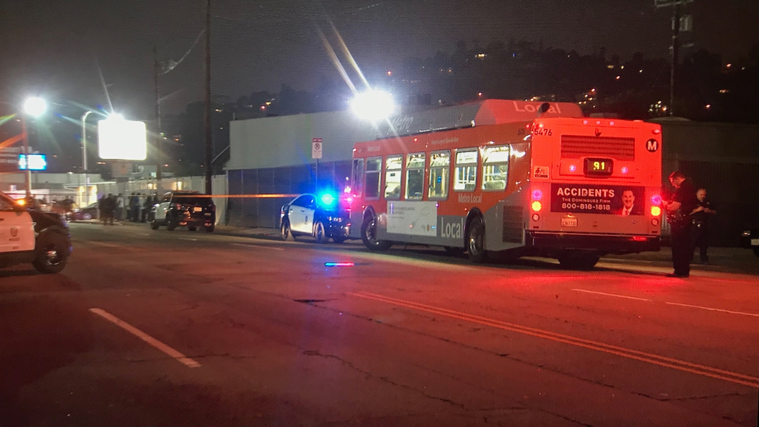 Police investigate a shooting that left five people wounded in Cypress Park on April 27, 2019. (Credit: KTLA)