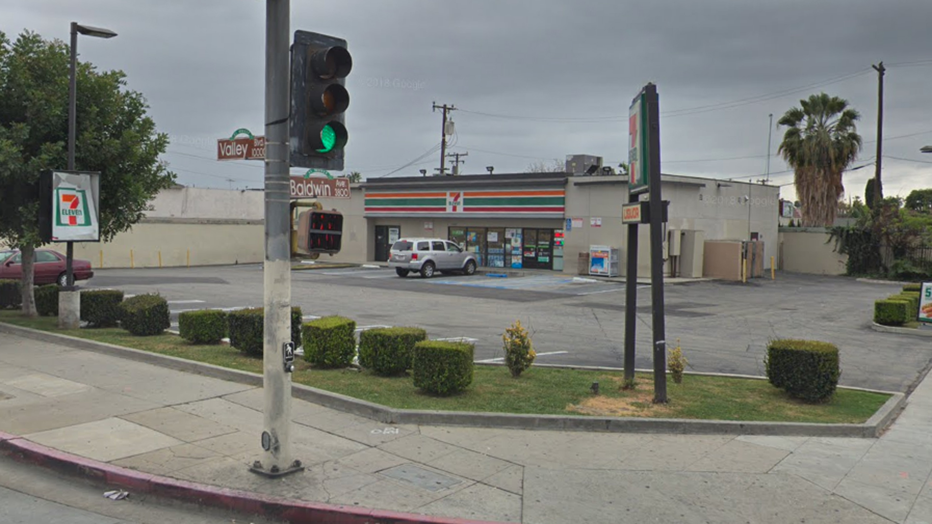 A 7-Eleven store at the corner of Valley Boulevard and Baldwin Avenue in El Monte, as pictured in a Google Street View image in May of 2018.