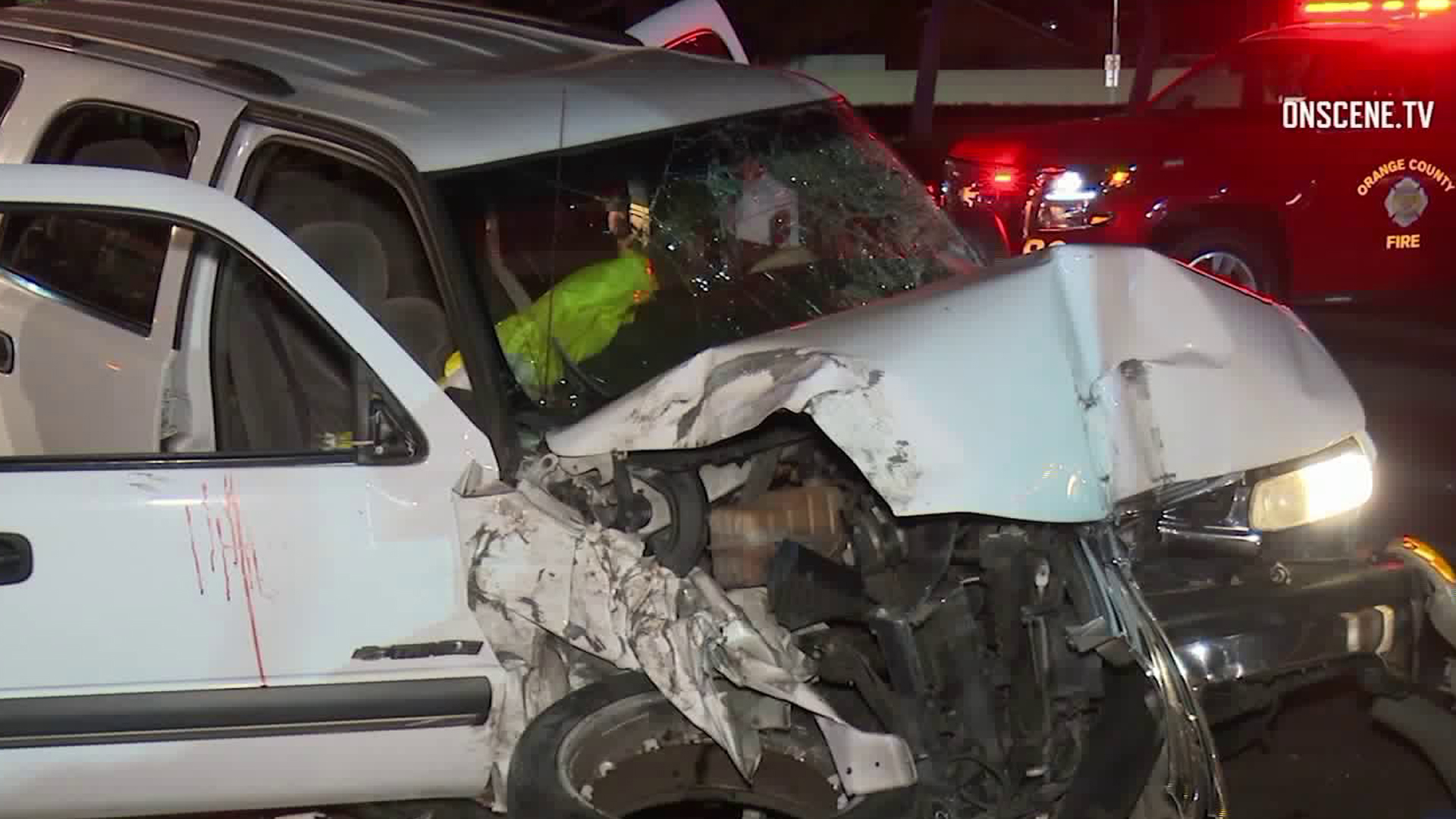 The scene of a crash in Fountain Valley involving a teen driver is seen on April 5, 2019. (Credit: Onscene.TV)