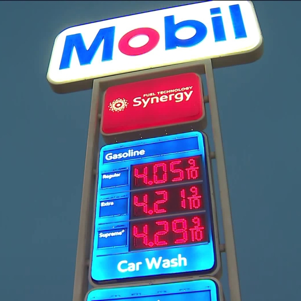 The average price of gas is climbing toward $4 a gallon in California, but at many stations in the state, prices have already reached that. (Credit: KTLA)