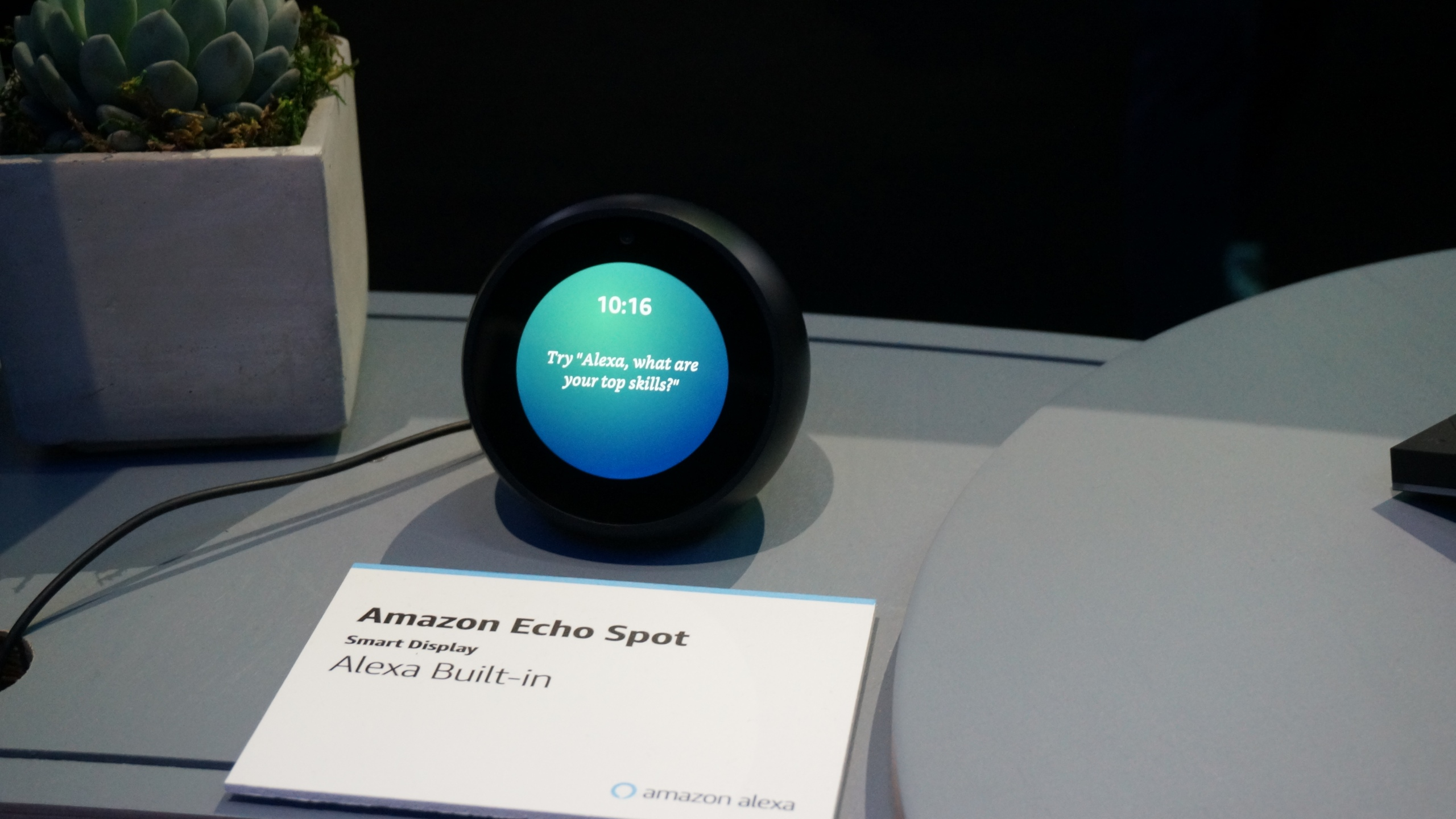 Amazon's Echo Spot device powered by its Alexa digital assistant is seen at the Consumer Electronics Show in Las Vegas on Jan. 11, 2019. (Credit: Robert Lever / AFP / Getty Images)