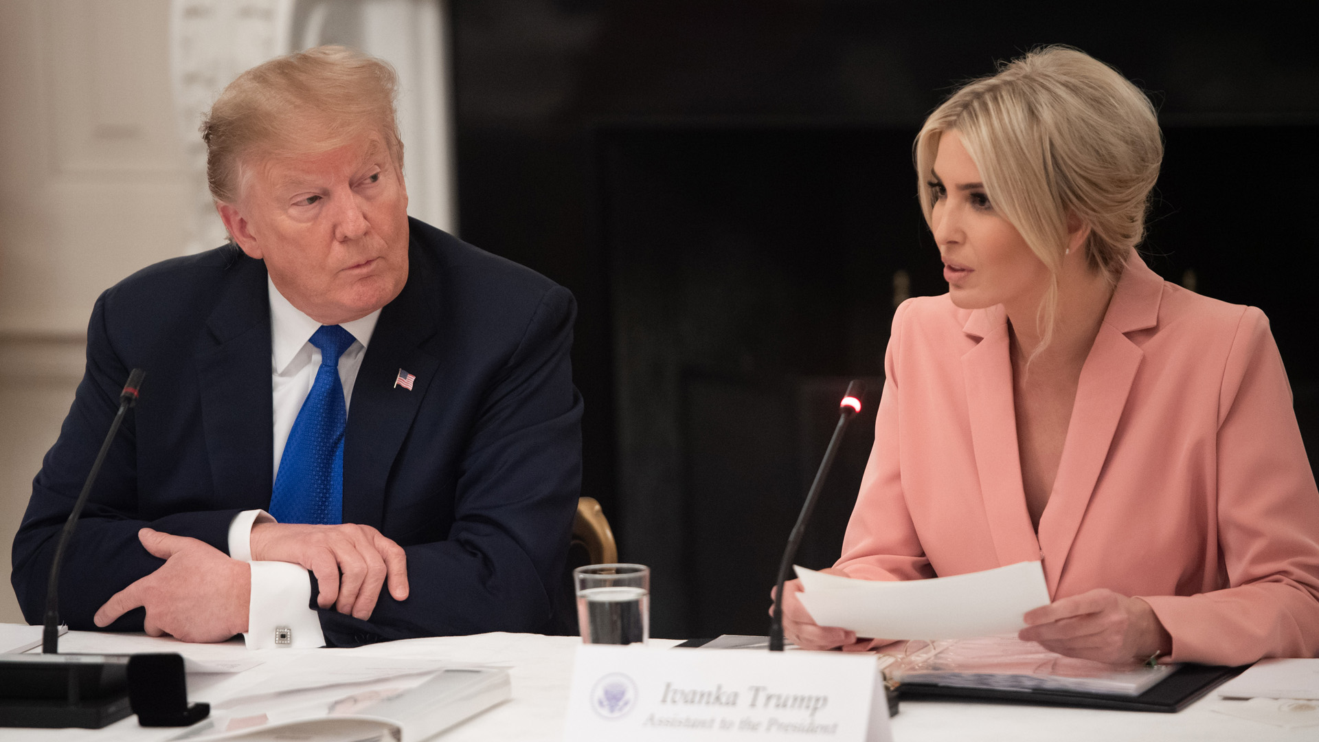 President Donald Trump speaks alongside senior advisor and daughter Ivanka Trump (R) at a meeting in the White House in Washington, DC, March 6, 2019. (Credit: SAUL LOEB/AFP/Getty Images)