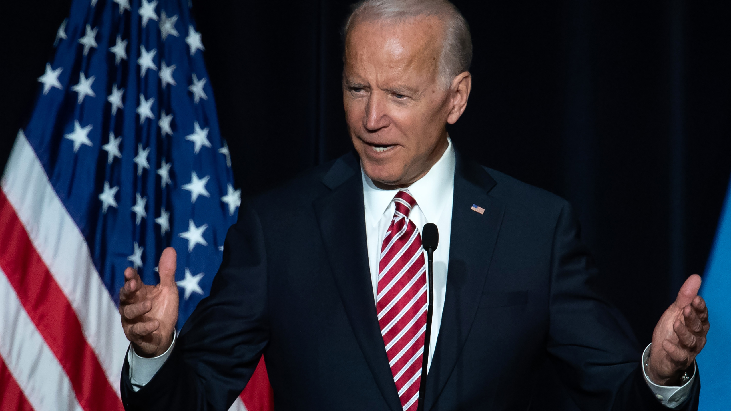 Former US Vice President Joe Biden speaks during the First State Democratic Dinner in Dover, Delaware, on March 16, 2019. (Credit: SAUL LOEB/AFP/Getty Images)