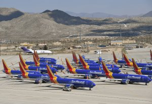 Southwest Airlines Boeing 737 MAX aircrafts are parked on the tarmac after being grounded at the Southern California Logistics Airport in Victorville on March 28, 2019. (Credit: Mark Ralston/AFP/Getty Images)