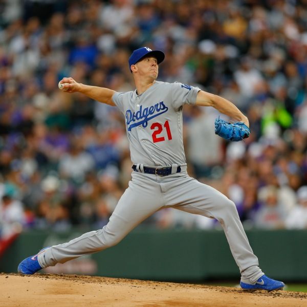 Walker Buehler delivers to home plate during the third inning against the Colorado Rockies at Coors Field on April 6, 2019. (Credit: Justin Edmonds/Getty Images)