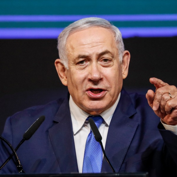 Israeli Prime Minister Benjamin Netanyahu addresses supporters at his Likud Party headquarters in Tel Aviv on election night early on April 9, 2019. (Credit: Thomas Coex/AFP/Getty Images)