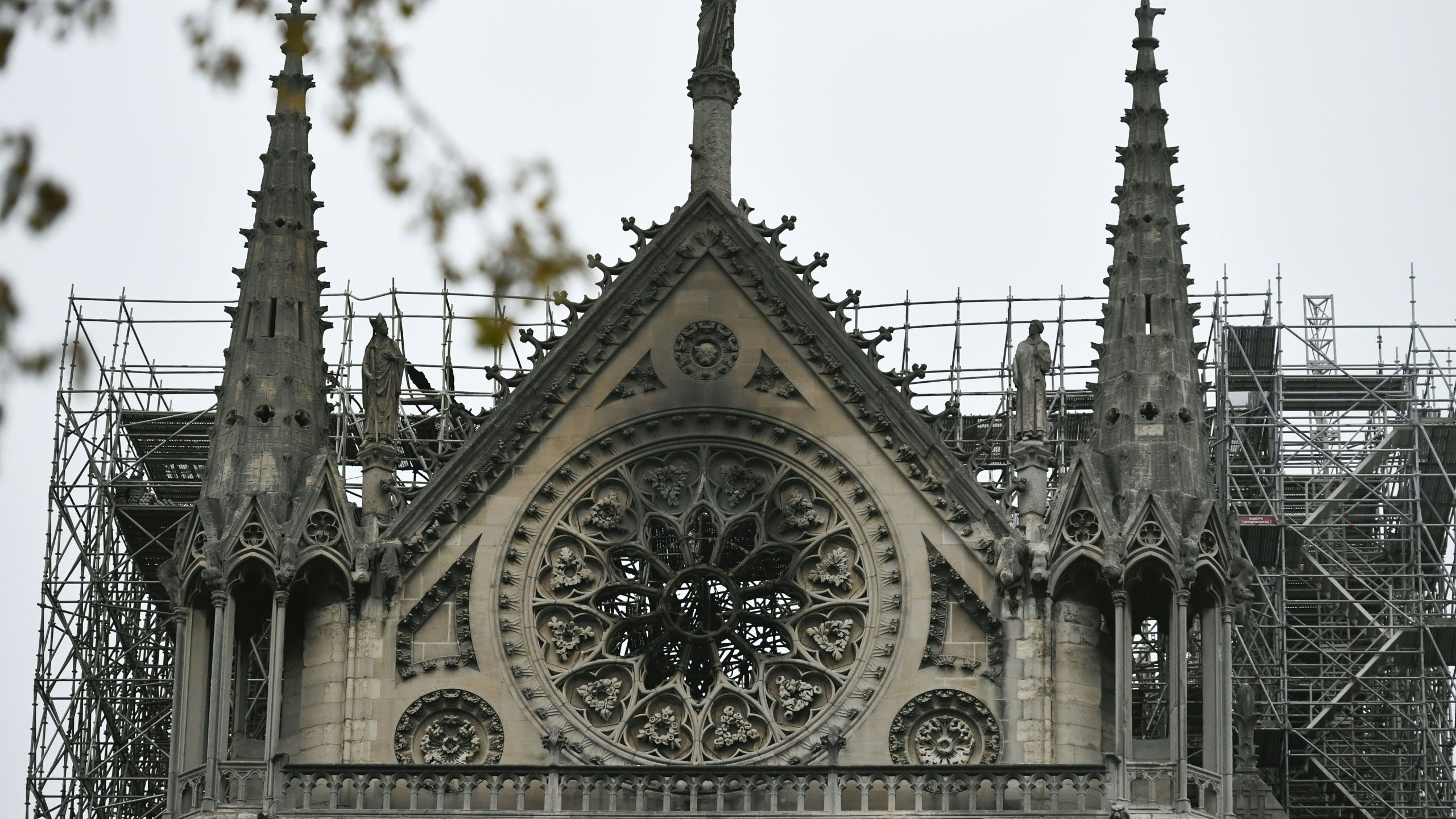 A picture shows Notre-Dame Cathedral in Paris on April 16, 2019, in the aftermath of a fire that caused its spire to crash to the ground.(Credit: STEPHANE DE SAKUTIN/AFP/Getty Images)