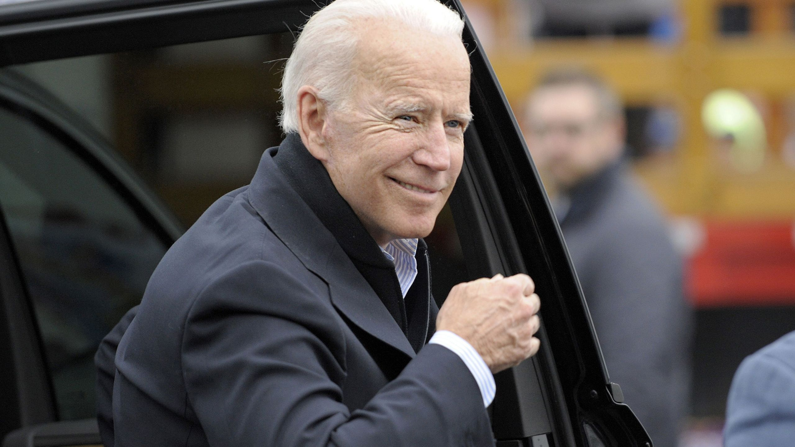 Former US vice president Joe Biden arrives at a rally organized by UFCW Union members to support Stop and Shop employees on strike throughout the region at the Stop and Shop in Dorchester, Massachusetts, on April 18, 2019. (Credit: JOSEPH PREZIOSO/AFP/Getty Images)