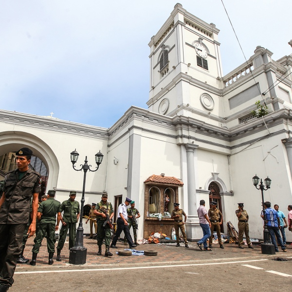 Sri Lankan security forces secure the area around St. Anthony's Shrine on April 21, 2019 in Colombo, Sri Lanka. (Credit: Stringer/Getty Images)
