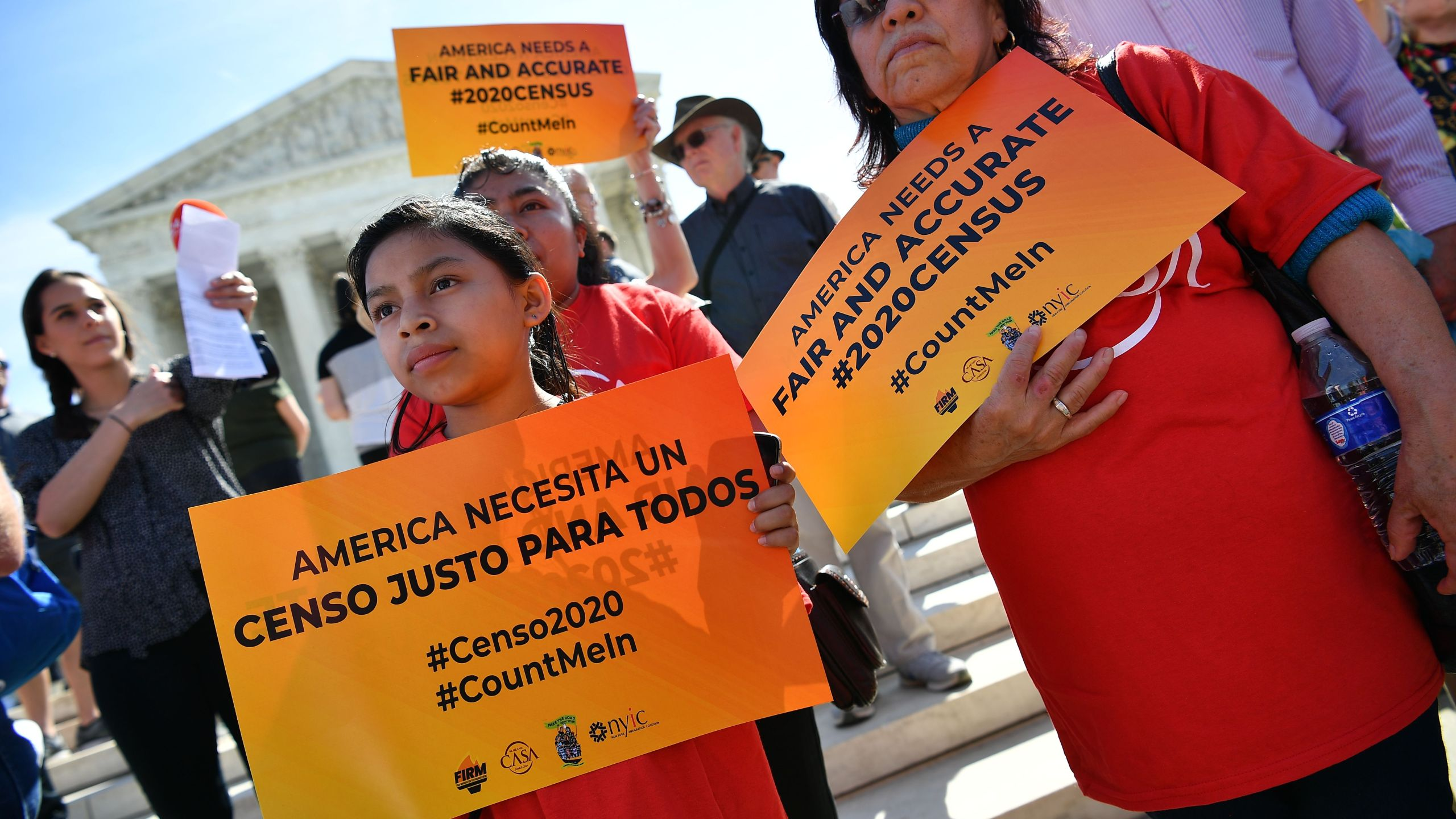 Demonstrators rally at the Supreme Court in Washington, D.C., on April 23, 2019, to protest a proposal to add a citizenship question in the 2020 Census.(Credit: MANDEL NGAN/AFP/Getty Images)