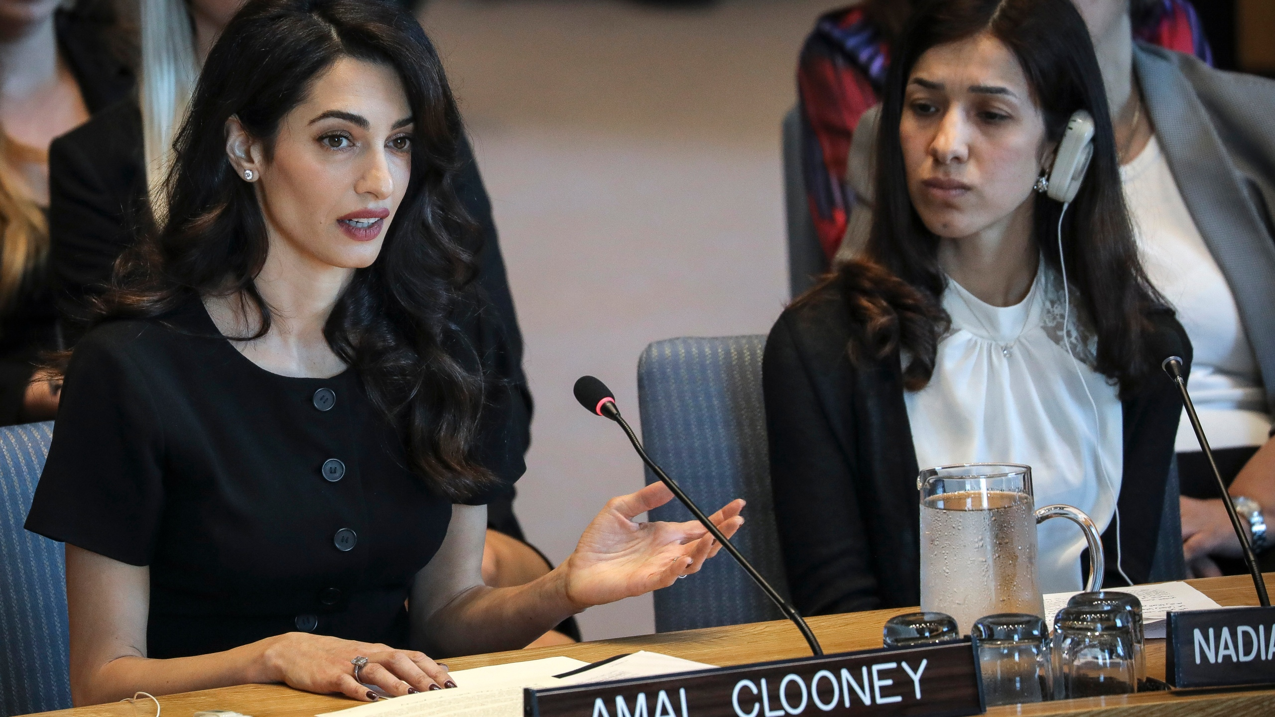 Human rights lawyer Amal Clooney and Iraqi human rights activist Nadia Murad Basee Taha at a United Nations Security Council meeting at the U.N. headquarters on April 23, 2019, in New York City. (Credit: Drew Angerer/Getty Images)