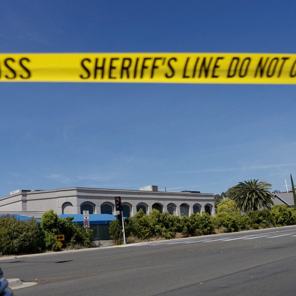 Sheriff's crime scene tape is placed in front of the Chabad of Poway Synagogue after a shooting on Saturday, April 27, 2019 in Poway, California. (Credit: SANDY HUFFAKER/AFP/Getty Images)