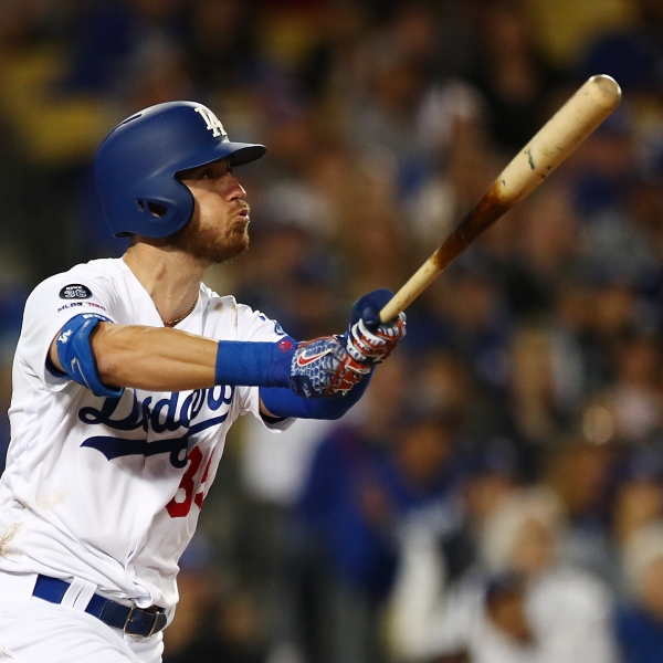 Cody Bellinger #35 of the Los Angeles Dodgers hits a grand slam against the San Francisco Giants during the third inning at Dodger Stadium on April 02, 2019 in Los Angeles, California. (Credit: Yong Teck Lim/Getty Images)