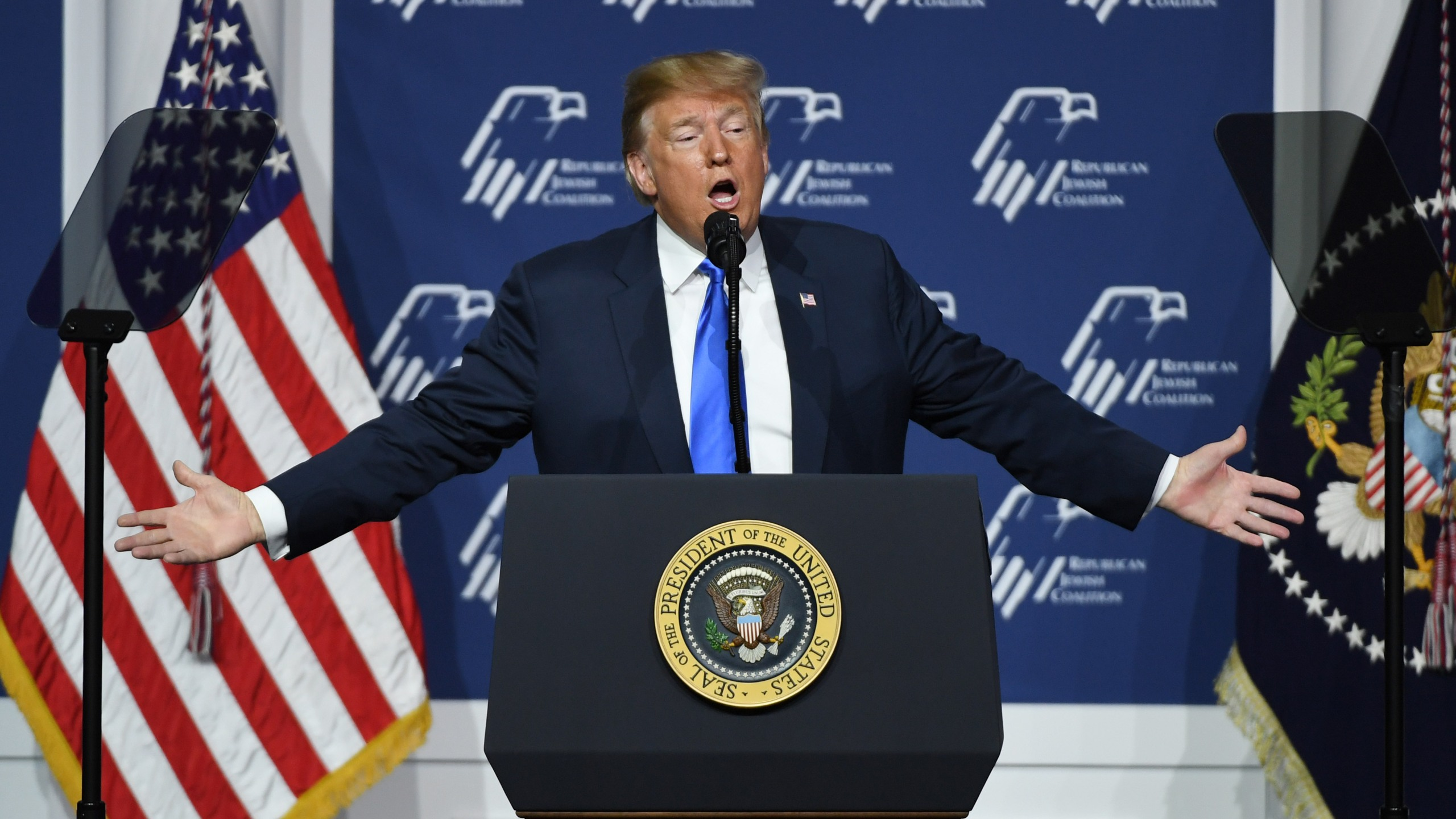 Donald Trump speaks during the Republican Jewish Coalition's annual leadership meeting at The Venetian Las Vegas on April 6, 2019 in Las Vegas, Nevada. (Credit: Ethan Miller/Getty Images)