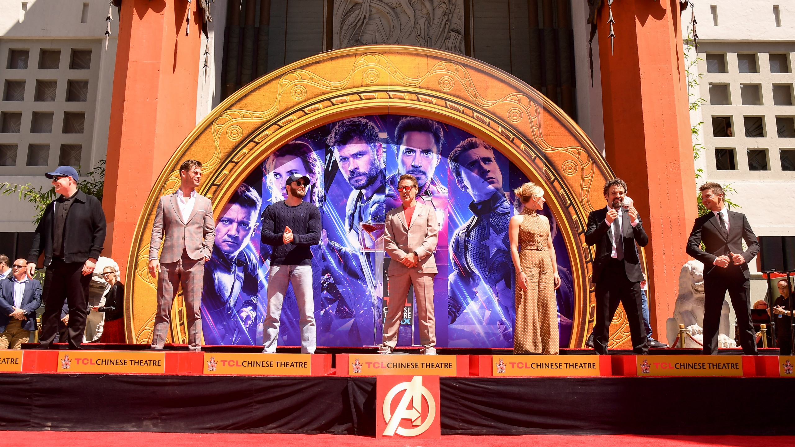 President of Marvel Studios/Producer Kevin Feige, Chris Hemsworth, Chris Evans, Robert Downey Jr., Scarlett Johansson, Mark Ruffalo, and Jeremy Renner attends the Marvel Studios' 'Avengers: Endgame' cast place their hand prints in cement at TCL Chinese Theatre IMAX Forecourt at TCL Chinese Theatre IMAX on April 23, 2019 in Hollywood. (Credit: Matt Winkelmeyer/Getty Images)