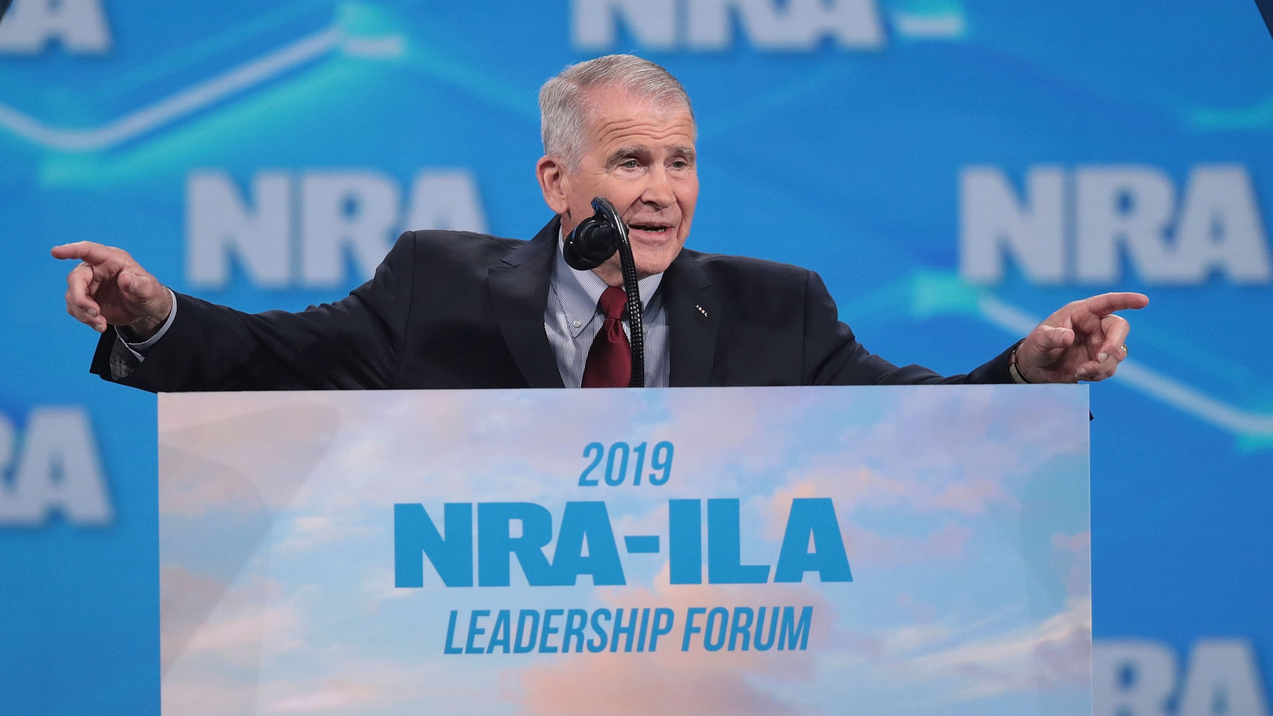 NRA President Oliver North speaks at the NRA-ILA Leadership Forum at the 148th NRA Annual Meetings & Exhibits on April 26, 2019 in Indianapolis, Indiana. (Credit: Scott Olson/Getty Images)